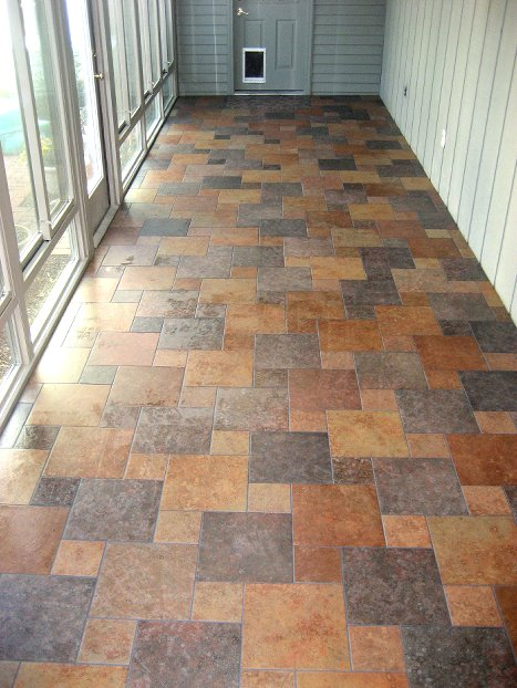 Barner 39 s house of floors ceramic tile for Sunroom tile floor ideas